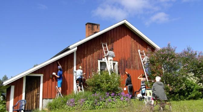 Målning av farmor Elsas hus 9 juli 2016